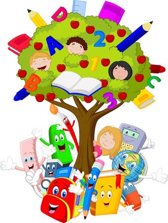 pens: Collection stationery with tree cartoon