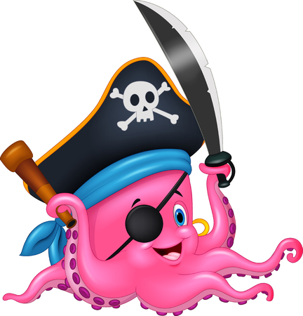 Cartoon pirate octopus Stok Fotoğraf - 45168902