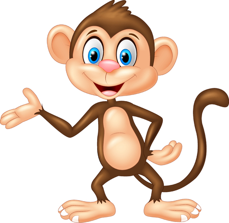 cute cartoon monkey: Cartoon monkey presenting