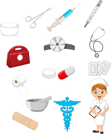 nurse injection: Cartoon collection of medical devices with nurse