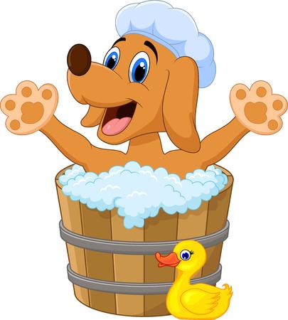 perro caricatura: Perro de la historieta de baño agitando la mano Vectores