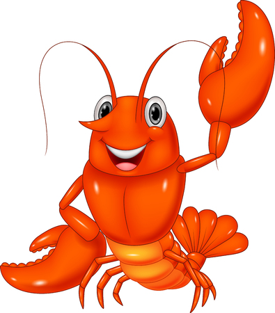 lobster dinner: Cartoon lobster waving on white background