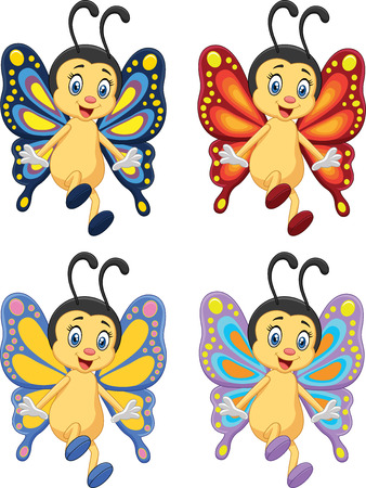 lovable: Cartoon collection of butterfly on white background