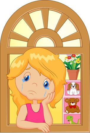 sullen: Cartoon little girl cry and watching out the window