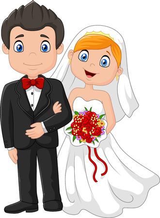 결혼식: 행복 한 결혼 결혼식 신부 및 신랑입니다. 벡터 일러스트 레이 션