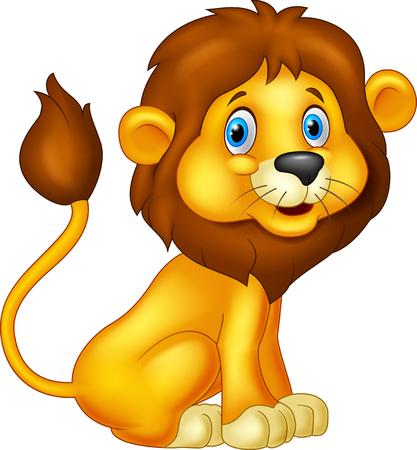 動物: 座っている漫画ライオン