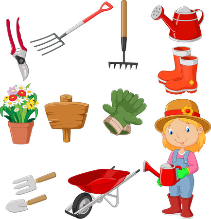 woman gardening: Cartoon gardening tools collection set