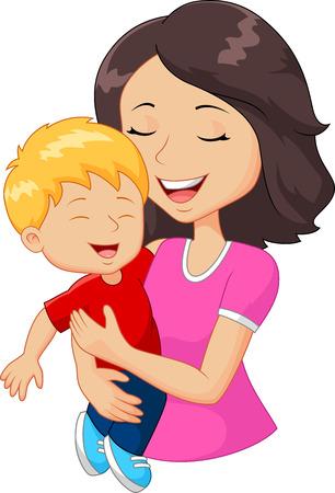 Cartoon gelukkige familie moeder die haar zoon