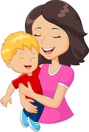 sons: Cartoon happy family mother holding her son