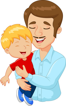 kid smile: Cartoon happy family father holding his son