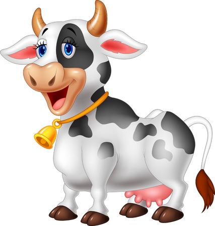 動物: 卡通快樂的卡通牛 向量圖像