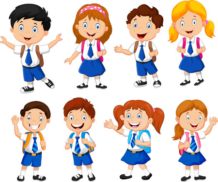 school girl uniform: Illustration of school children cartoon