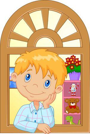 sullen: Cartoon bambino piangere e guardando fuori dalla finestra