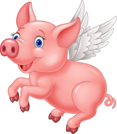 pig wings: Cute pig cartoon flying on white background