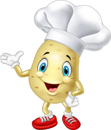 potato: Cartoon đầu bếp khoai vẫy tay Hình minh hoạ