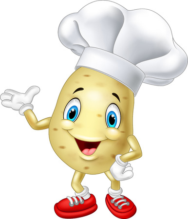 Cartoon chef potato waving hand Çizim