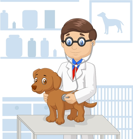 vet: Cartoon veterinary examining dog