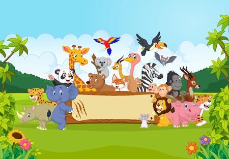 animales del bosque: Animales salvajes de la historieta que sostienen la bandera
