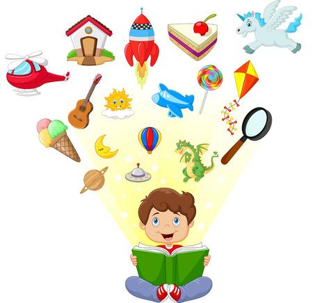 lectura: Poco niño de dibujos animados concepto de educación libro de lectura Vectores