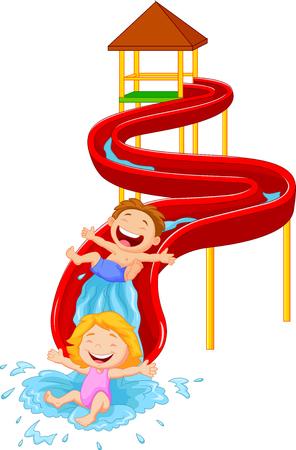 Happy children on water sliding Illustration