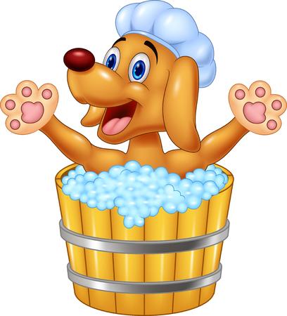 perros graciosos: Perro de la historieta de baño agitando la mano Vectores