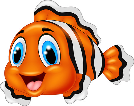 clown fish: Cute clown fish cartoon posing