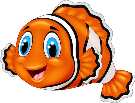cute animal cartoon: Cute clown fish cartoon