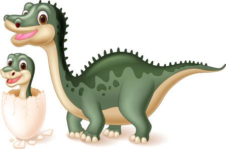 dinosauro: Madre di dinosauro con il bambino cova. illustrazione vettoriale