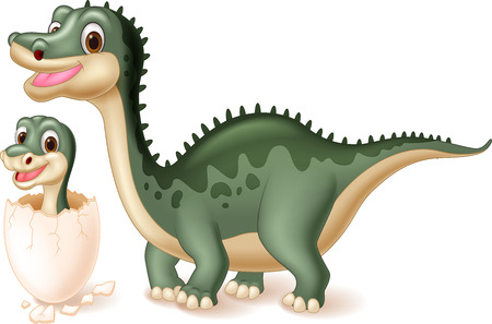 dinosaur cute: Mother dinosaur with baby hatching. vector illustration Illustration