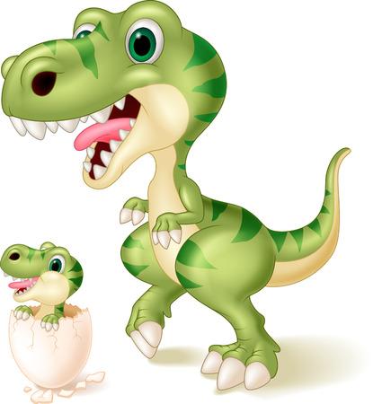 Madre y bebé dinosaurio de eclosión. ilustración vectorial Ilustración de vector