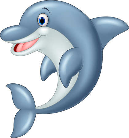 dolphin fish: Standing Dolphin Vector Illustration