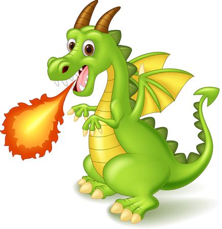 dinosaurio caricatura: Cartoon drag�n posando con fuego Vectores