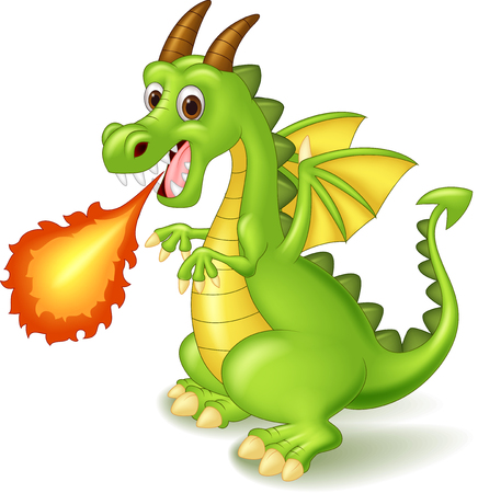 dinosaur cute: Cartoon dragon posing with fire