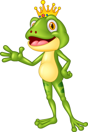 croaking: Cute frog presenting Illustration
