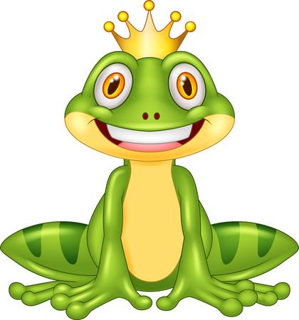 water frog: Happy cartoon king frog