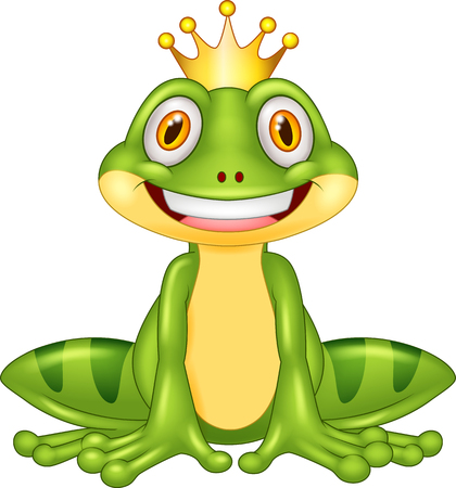 Happy cartoon king frog