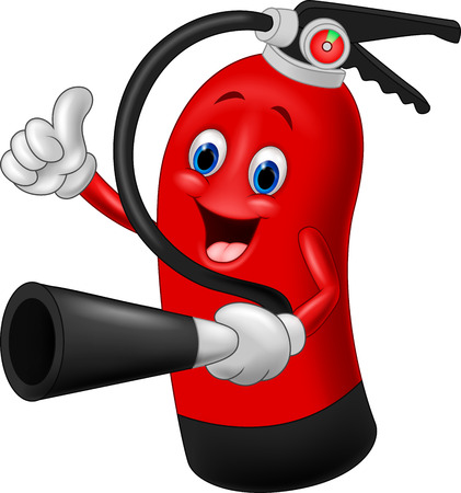 cartoon mascot: Cartoon Character of fire extinguisher giving thumb up