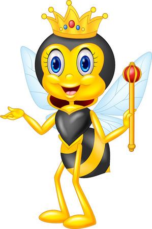 abeja: Cartoon presentación de la abeja reina Vectores