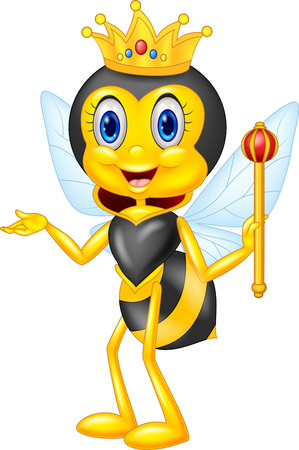 Cartoon queen bee presenting Stok Fotoğraf - 45092964