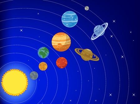 jupiter light: Cartoon the Solar System Illustration