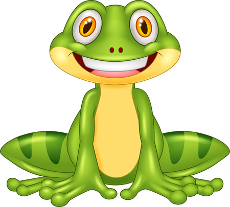 croaking: Cartoon happy frog