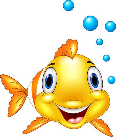 payasos caricatura: Pez payaso adorable con burbujas de agua Vectores
