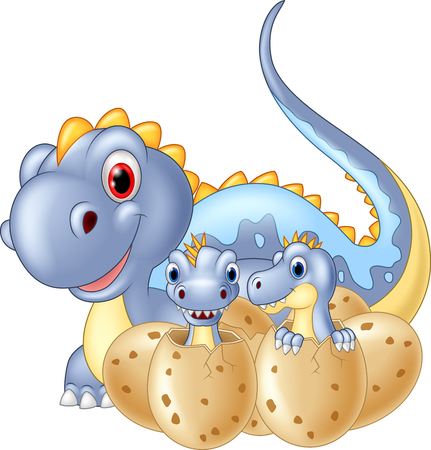 dinosaur cute: Cartoon happy Mother and baby dinosaur hatching