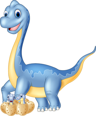 dinosaur cute: Cartoon mom and baby dinosaur hatching