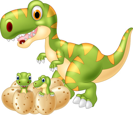 dino: Cartoon Mother and baby dinosaur hatching