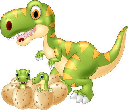 cute dinosaur: Cartoon Mother and baby dinosaur hatching