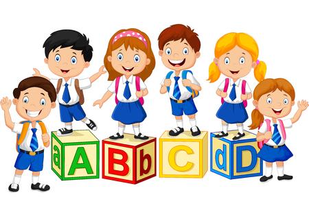 escuela primaria: Niños de la escuela felices con los bloques del alfabeto Vectores