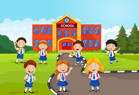 cartoon school girl: Happy school children in front of the school