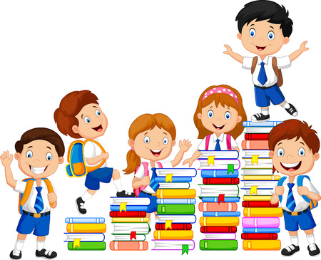 Happy schoolkids playing with stack of book