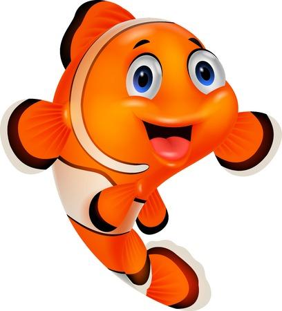 clownfish: Cute clown fish cartoon posing